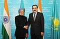 The Prime Minister, Dr. Manmohan Singh meeting the Prime Minister of Kazakhstan, Mr. Karim Massimov, at Astana, in Kazakhstan on April 16, 2011.jpg