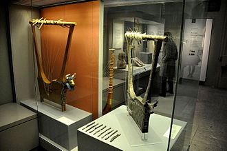 Lyres of Ur - The Queen's lyre and the silver lyre, from the Royal Cemetery at Ur, southern Mesopotamia, Iraq. The British Museum, London.