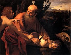 Painting of an elderly man holding a young boy's head down with one hand; a winged angel restrains the man's other hand, which grasps a knife. A ram looks on from the side; in the background is a Renaissance landscape with hills, trees, and a castle.