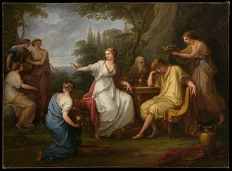 Angelica Kauffman - The Sorrow of Telemachus (1783). Oil on canvas by Angelica Kauffman.