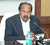 The Union Minister for Petroleum & Natural Gas and Environment and Forests, Dr. M. Veerappa Moily addressing at the presentation of the Indira Gandhi Paryavaran Puraskar-2010, in New Delhi on February 19, 2014.jpg