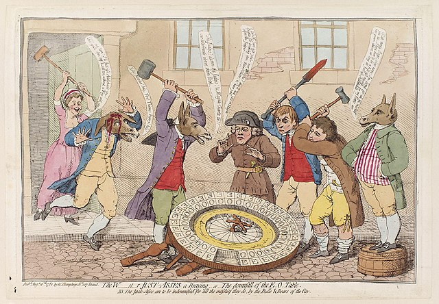 Caricature featuring people and donkeys in outfits smashing up an EO wheel, which lies on the cobblestoned street.