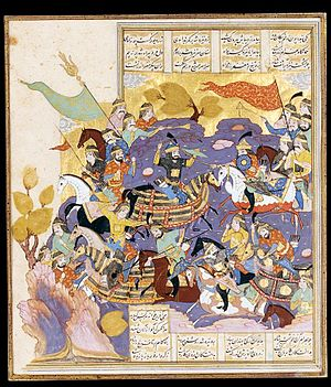 Bahram Chobin - The battle between Bahram Chobin and Khosrow Parviz, from Shahnameh. Ottoman miniature, 1580