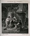 The interior of a tavern with men smoking and drinking round Wellcome V0019528.jpg