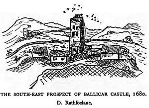 Thomas Dingley (antiquary) - Ballycar Castle in western Ireland, sketch by Thomas Dineley.