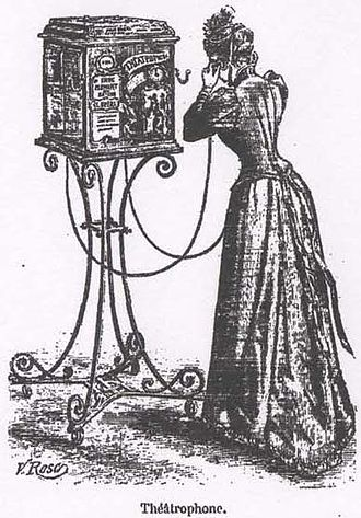 Théâtrophone - Le théatrophone. An illustration from Le Magasin pittoresque (1892).