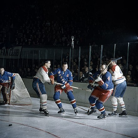 Game between the Canadiens and the New York Rangers in 1962. There's no action like hockey action by Louis Jaques.jpg