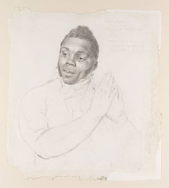 John Downman - Thomas Williams, A Black Sailor, chalk and graphite on paper, 1815.
