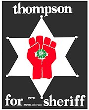 Poster with a symbol of a red two-thumbed fist holding a peyote button superimposed on a six-pointed star-shaped sheriff's badge