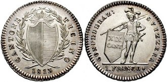 Ticino - Ticinese franco, currency of Ticino until the introduction of the Swiss franc in 1850.