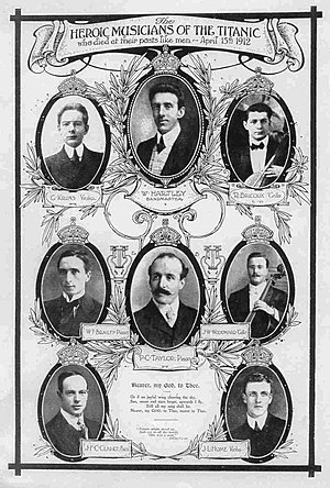 Legends and myths regarding RMS Titanic - The eight members of ''Titanic''{{'s}} band.