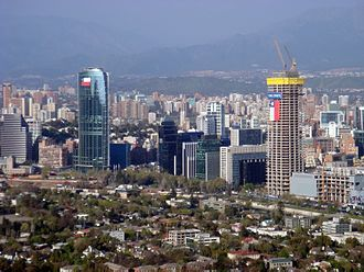 Sanhattan - Gran Torre Santiago (seen under construction in 2010) and Titanium La Portada (left) are the two tallest buildings in Sanhattan.
