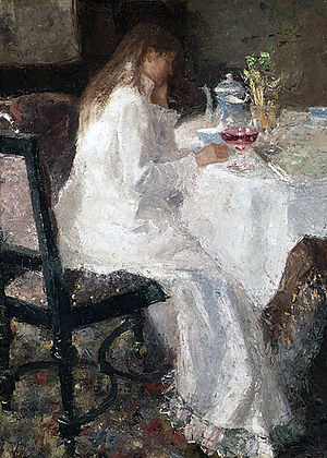 Jan Toorop - Jan Toorop's Lady in white (1886) of his wife Annie Hall