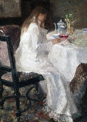 Jan Toorop - Jan Toorop's Lady in white (1886) of his wife Annie Hall