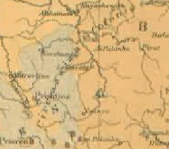 Expulsion of the Albanians 1877–1878 - Image: Toplica Morava Ravensteinmap