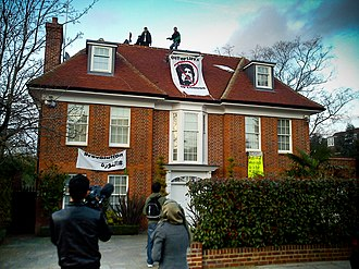 United Nations Security Council Resolution 1970 - Saif al-Islam Gaddafi's house in London occupied by protesters calling themselves Topple the Tyrants