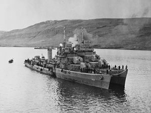 USS Kearny (DD-432) - Image: Torpedoed USS Kearny (DD 432) alongside USS Monssen (DD 436) at Iceland, 19 October 1941 (80 G 28788)