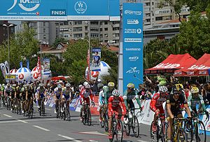 Presidential Cycling Tour of Turkey - Riders in Stage 8 of 50th Presidential Cycling Tour of Turkey at Çetin Emeç Boulevard, Istanbul on May 4, 2014.