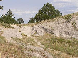 History of the Oregon Trail - Trail ruts near Guernsey, Wyoming