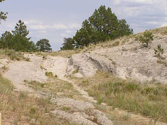 Oregon Trail - Trail ruts near Guernsey, Wyoming