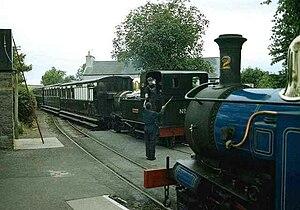 Ballasalla railway station - No. 10 G.H. Wood crossing Nol. 12 Hutchinson at the railway station in 1998