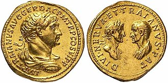 Nerva - Roman aureus struck under Trajan, c. 115. The reverse commemorates both Trajan's natural father, Marcus Ulpius Traianus (right) and his adoptive father, the Deified Nerva (left).