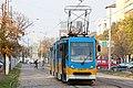 Tram in Sofia near Russian monument 007.jpg
