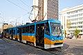 Tram in Sofia near Russian monument 054.jpg