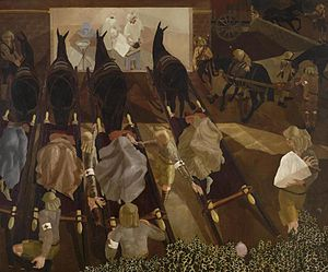 Stanley Spencer - Travoys Arriving with Wounded at a Dressing-Station at Smol, Macedonia, September 1916 (1919, Art.IWM ART 2268)