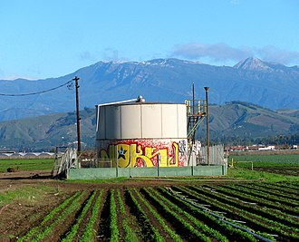 Oxnard Oil Field - Oil storage tank adjacent to Tri-Valley center of operations.