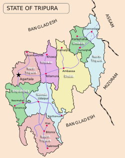 Map of the Tripura state showing eight districts