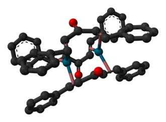 Tris(dibenzylideneacetone)dipalladium(0) - Image: Tris(dibenzylideneac etone)dipalladium(0) 3D balls