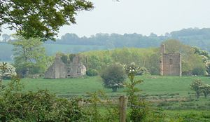 Tristernagh Abbey - The remaining ruins of Tristernagh Abbey (left), and part of the Georgian house built on the site (right).