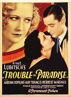 <i>Trouble in Paradise</i> (1932 film) 1932 film by Ernst Lubitsch