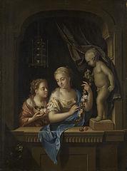 Deux filles avec fleurs près d'une statue de Cupidon