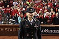 "U.S. Army Sgt. Christine Permenter, assigned to the 399th Army Band, sings ""God Bless America"" Oct. 27, 2013, during the seventh inning stretch of the fourth game of the 2013 Major League Baseball World Series 131027-A-WN220-601.jpg"