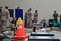 U.S. Marines with Marine Wing Headquarters Squadron (MWHS) 3, 3rd Marine Aircraft Wing, conduct chemical, biological, radiological and nuclear (CBRN) defense training at Marine Corps Air Station Miramar, San 130430-M-EF955-003.jpg