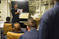 U.S. Navy Chief Electrician's Mate Xiaocong Li, standing left, gives engineering training aboard the guided missile destroyer USS Truxtun (DDG 103) in the Atlantic Ocean Aug. 7, 2013 130807-N-YZ751-007.jpg