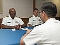 U.S. Navy Rear Adm. Frank Ponds, left, the commander of Navy Region Hawaii and Naval Surface Group Middle Pacific, speaks with Japanese Maritime Self-Defense Force (JMSDF) Rear Adm. Hideki Yuasa, right 130516-N-WX059-011.jpg
