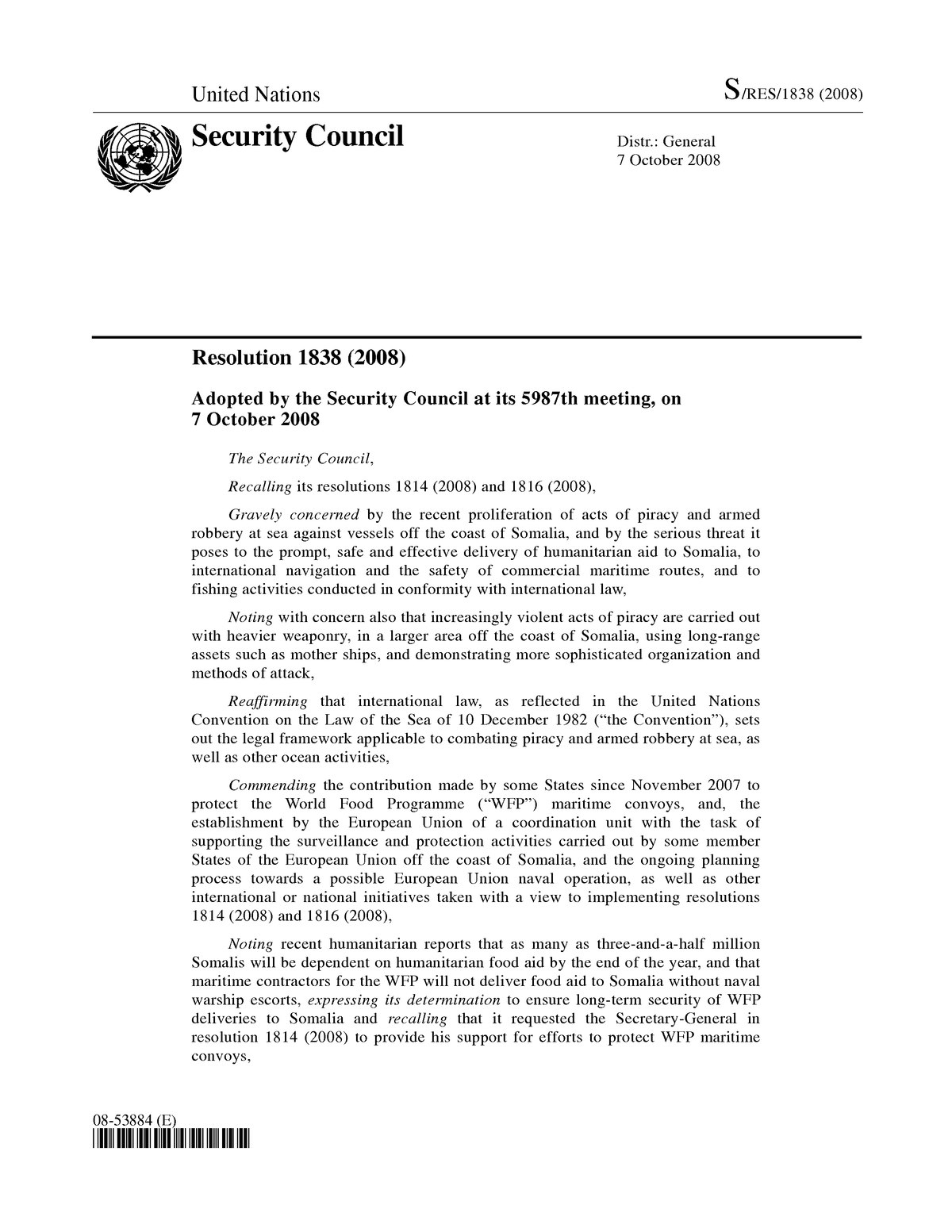 United Nations Security Council Resolution 1838
