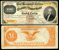 $1,000 Gold Certificate, Series 1882, Fr.1218a, depicting Alexander Hamilton