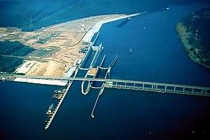 Pickwick Landing Dam - Aerial view of Pickwick Landing's lock