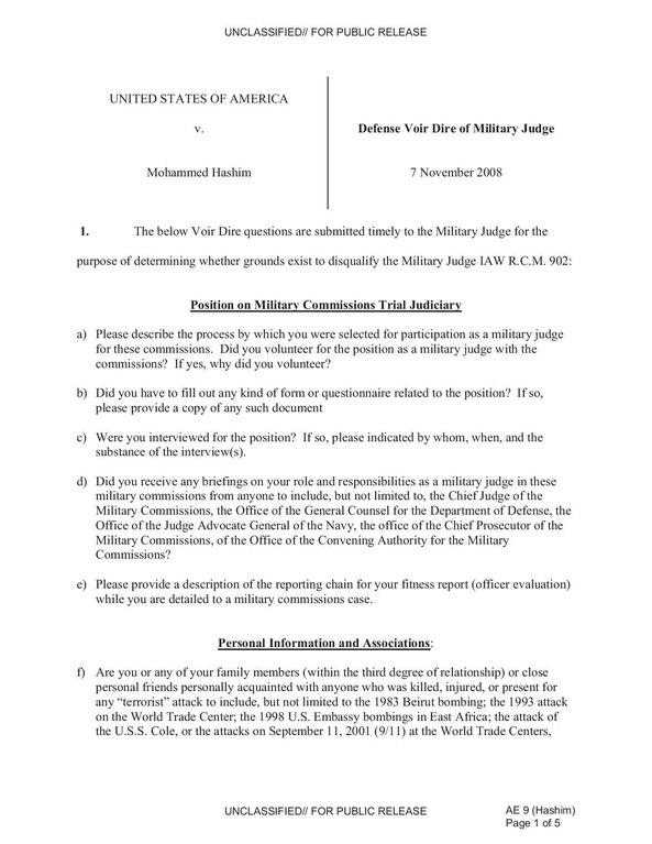 File:USA v. Mohammed Hashim -- Defense Voir Dire of Military Judge ...