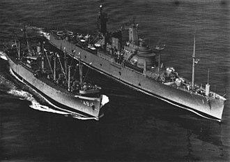 USS Alstede (AF-48) - USS Alstede (AF-48) replenishes USS Northampton (CC-1) 1964
