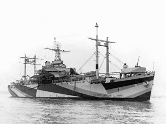 USS Mount Olympus - Mount Olympus in June 1944, displaying dazzle camouflage.