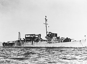 USS Odum (APD-71) anchored off San Francisco, in late 1945 (NH 77399)