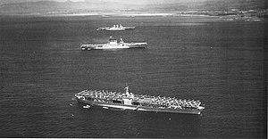 Fleet problem - Image: USS Ranger (CV 4), USS Lexington (CV 2) and USS Saratoga (CV 3) at anchor off Honolulu on 8 April 1938 (80 G 410056)