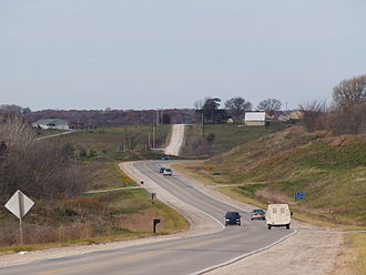 Iowa Primary Highway System - U.S. Route 34 near Chariton, a typical rural Iowa scene along Iowa's highways.