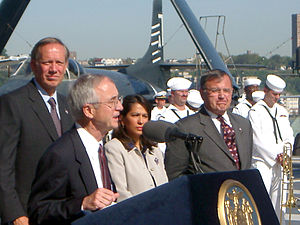 George Pataki - George Pataki at the USS New York, September 7, 2002 (back row, left)