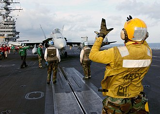 """Aviation boatswain's mate - ABHs (""""yellowshirts"""") direct the movement of all aircraft"""